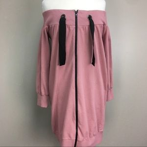Asos NWT Off Shoulder Blush Pink Zip Up L/S Dress